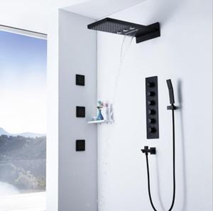 5 기능 온도 조절 샤워 세트 Rainfall 샤워 헤드 욕실 블랙 마사지 제트 샤워 시스템 폭포 샤워 믹서 꼭지 세트