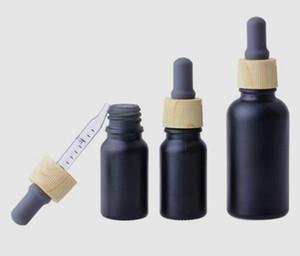 에센셜 오일 향수 젖빛 유리 병 블랙 매트 vape 전자 액체 유리 스포이드 병 10 미리리터 나뭇결 플라스틱 캡 측정 피펫