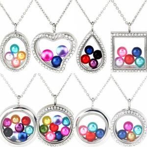 """Charms Più Stile 8mm 10mm Pearl Beads Gabbia d'argento della geometria di colore magnetico di vetro galleggiante Locket pendenti di donne 20"""" collana BY0215"""