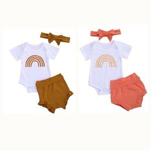 Baby Boy Summer Clothing Newborn Baby Girl Clothes Short Sleeve Rainbow Romper Tops+Ruffle High Waist Shorts Headband Outfits