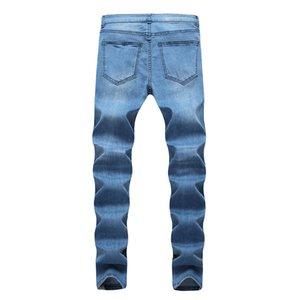ممزق مصمم رجالي جينز WEST المتعثرة طويل أزرق فاتح مخطط جان السراويل موضة بنطلون