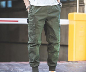 Trousers Male Fashion Clothing Mens Casual Cargo Pants Full Capris Multi Pocket Work Trousers Elastic Waist