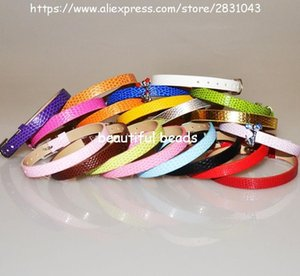Wholesale 100pcs DIY Accessories fit 8mm slide charms Snake PU Leather Wristband mix color 8mm wide 210mm length