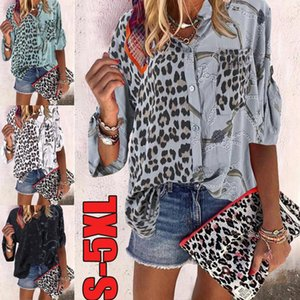 Casual traspirante floreale stampato Womens camicette Plus Size Womens Designer stampato leopardo Camicie 1/2 risvolto manica collo Patchwork Tshirts