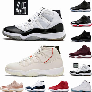 Bred 11 11S Concord 45 Space Jam Serpenti Mens scarpe da basket Heiress Gamma blu della pelle di serpente Hight Low Cut Sport Sneakers Trainers
