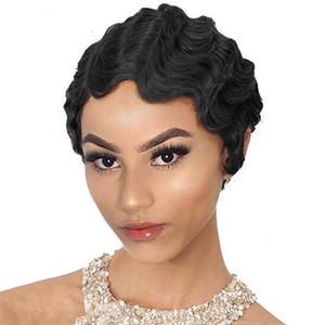 New Designer Retro Classique Vague doigt vague perruque frisée vente chaude Femmes pleine Head Set perruques 100% cheveux humains Cap réglable