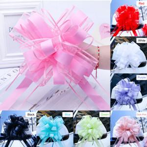 2020 más nuevos 10pcs grande Tire arco de la cinta de decoración de coches partido del abrigo del regalo de boda de flores de colores Para tiran de la cinta partido de la flor