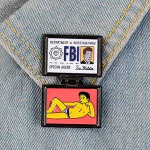 심슨 브로치 X 파일 FBI 폭스 멀더 ID 카드 에나멜 핀 옷깃 핀 배지 패키지 의류 보석 선물 여성 남성