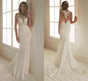 Beach Boho Wedding Dresses Mermaid Lace 2020 Sheer Neck Illusion Butttons Back Bridal Gowns Appliqued Sweep Train Robes De Mariee AL6471