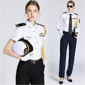 Seawoman's Security Uniform Shirt + Accessories المرأة القبطان الموحدة الطيار القميص Seawoman القميص قصير كم طويل تظهر سترة