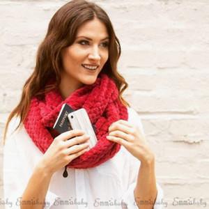 Mode féminine dames Laine tricot Echarpes avec poche d'hiver chaud en tricot cou Cercle Cowl Snood écharpe