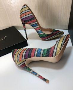 Hot2019 Stripe Color Style Shilmering Powder Paillette Fine Con Sharp Tacón alto T Plataforma Nightclub Zapatos de mujer