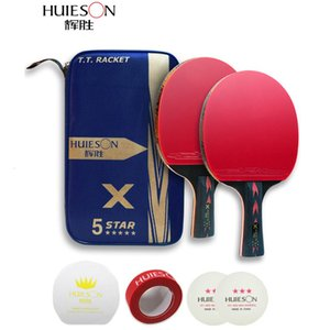 Huieson Table Tennis Racket Ping Pong Rackets 2PCS lot Pad Blade Bat Paddle With Pingpong Bag Sticky Power Pipls-In Rubber T190927