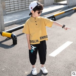 Boys Sports linen Clothing Set 2020 New Cool Summer Kids Clothes Sets Children's Leisure Sets 3 Letter Colors Size4-14 ly053