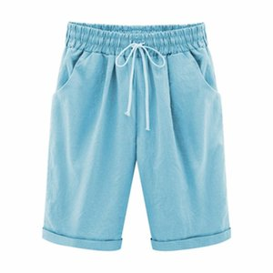 lin coton femmes surdimensionnées été Shorts Casual dames Cordon élastique en vrac court Pantalons Taille Plus 7XL e cn