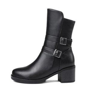 2020 ZALAVOR Женщины Mid Calf Boots бляшкой Повседневная зимняя обувь Женщины Keep Warm Zipper Square Heels Офис Обувь Размер 34-43