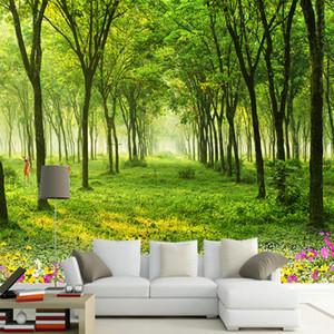 Özel Herhangi Boyut Duvar Duvar kağıdı 3D Doğa Manzara Green Tree Fotoğraf Duvar Kağıdı Salon TV Koltuk Arkaplan Duvar Resimleri Dekor