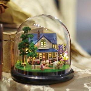 DIY Dollhouse Rotate Music Box Miniature Assemble Kits Doll House Doll Houses Casa Toys Miniature DIY Dollhouse With Furnitures MX200414