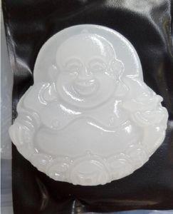 Natural White Jade Buddha Peace Pendant Free Shipping155