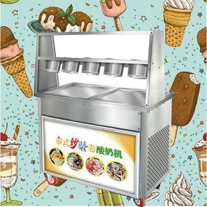 Коммерчески зажаренная машина льда 220V настольный диск зажаренная машина мороженого крен йогурта льда нержавеющей стали 2 бака и 5 шаров