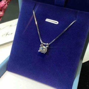 Necklace four-claw women's single diamond 925 pendant wedding clavicle chain Niutou simple inlaid zircon Pinduoduo