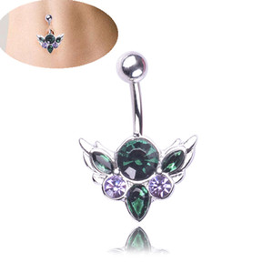 Animal Cute Zircon Crystal Body Jewelry Stainless Steel Rhinestone Navel & Bell Button Piercing Rings for Women Gift Green Color green color