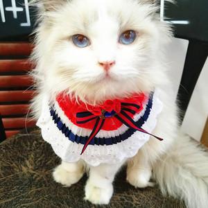 조정가능한 수공 고양이 공주 파란 가제 레이스 백색 곰 공주 애완 동물 스카프 수도꼭지 애완 동물 보석 부속품