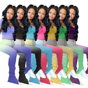 Top Lungo Stacked Pantaloni Set di abbigliamento di colore di pendenza Due pezzi Pantaloni Donne 2pcs Designer Imposta Pullover
