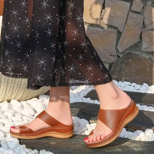 Oeak Women Slippers Solid Leather Shoes Hollow out Roman Wedges Platform Flat Soft Sole Beach Mules Ladies Slides Party Sandals
