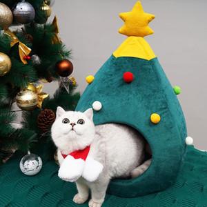 Pet del gatto del cane della fossa di scolo del cucciolo Cave base di sonno di figura dell'albero di Natale Inverno caldo letto per i gatti Dog Cama Para Cachorro
