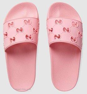 Branded Men Letter Canvas Slide Sandal Designer Women Leather trim Molded Rubber Sole Footbed Flat Slipper
