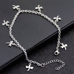 new design dragonfly chain foot anklet beach, 316 stainless steel butterfly anklet jewelry for women