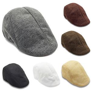 6 Renkler Gatsby Newsboy Kap Erkekler Kadınlar Rahat Pamuk Ivy Şapka Golf Sürüş Düz Cabbie Düz Unisex Bereliler Şapka
