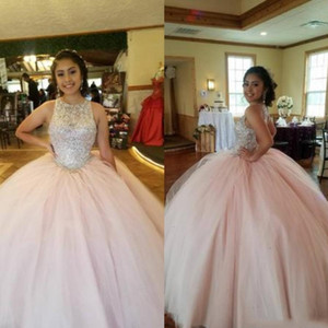 Blush Pink cristallo Quinceanera 2020 anos dolce Prom Dress Piano Lunghezza 16 Plus Size Jewel sfera di Tulle Abiti 15
