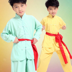 2017 Новый китайский стиль Дети китайский кунгфу форменные Мальчики Девочки ушу костюмы Tai Chi одежды Set