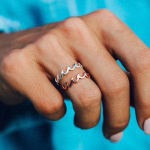2020 Women Fashion Simple Ocean Wave Rings Design Finger Ring For Women Jewelry Gift For Girl Wholesale