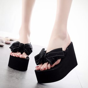 Size 41 Flip Flops Bow Cute Home Slippers Platform Shoes for Woman Heels 11cm Home Slipper Women Pump Shoes Ciabatte Tacco New