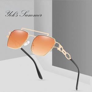 YOK'S Vintage Polygon Hollow Sunglasses Women Men Brand Hexagon Metal Frame Driving Goggle 2019 Personality Red Glasses WN1213