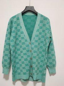 Ücretsiz Kargo 2020 İlkbahar Yeşil Harf Nakış Bahar Kadın Hırka Marka Same Style Kadın Kazak 031501