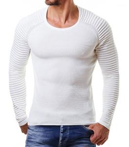 Il modo casuale lavorato a maglia O-collo MANICA LUNGA Mens Designer drappeggiato Maglioni