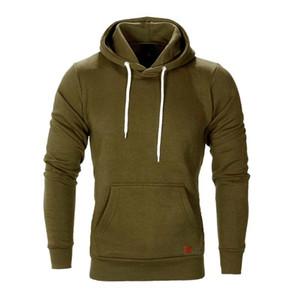 New Autumn Winter Mens Long Sleeve solid color pocket Drawstring Casual Sweatshirt Brand leisure Hoodies slim pullover
