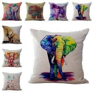 Capa de almofada colorida Afric fronha Elephant lençóis de algodão Lance fronhas travesseiro cobre 14 cores personalizadas gratuito 45x45cm 100g