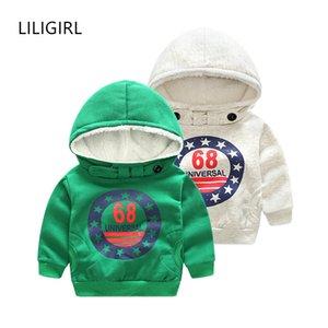 LILIGIRL Uzun Kollu Bebek Boys Karikatür Ceket Hoodie Ceket Kazak Dış Giyim Kızlar Kış Sıcak Artı Kadife Hoodies Tops Giysileri