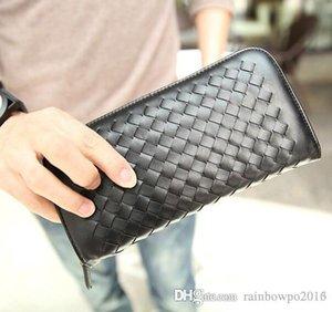 маленький бумажник мужской пакет Корейский моды тканая кожа мужчины бумажник мода досуга бизнес ручной работы мужчины многофункциональный кошелек