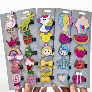Çocuklar Sevimli Karikatür Unicorn Dinozor Hayvan Saç Klipleri Bebek Kız Meyve Firkete Tokalar Çocuk Saç Accessaries Şapkalar C6039