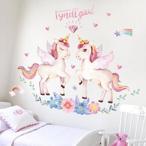 1pc 90 * 120cm Niños Sueño de la etiqueta engomada de la pared unicornio niños que viven pegatinas pared del dormitorio sala de decoración para el hogar cálido decoracion dibujos animados fondo de pantalla