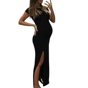 LONSANT maternité Robes femmes couleur unie manches courtes moulante longue robe Mode d'été Femmes Vêtements Ouvert Grossesse Nouveau Fourchette