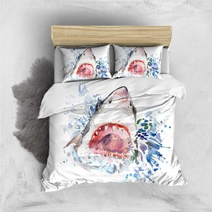 Spray Bedding Set Shark Fashionable 3D Duvet Cover Artistic Queen Single Double Full Twin Comfortable Bed Set With Pillowcase