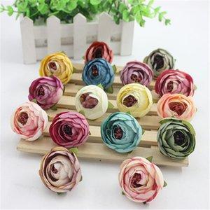 Corona regalo 10PCS 3CM seta artificiale Rose Bud testa di fiori per il matrimonio della decorazione DIY scatola di Scrapbooking del mestiere Fake Flowers