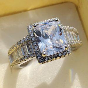 Choucong Brand New Jewelry Luxury Real 925 Sterling Silver principessa Cut Anello Banda Diamante CZ Eternity Diamond Wedding per le donne regalo